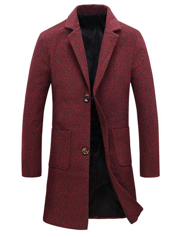 Heathered Pocket Two Button Wool Blend Coat - RED 3XL