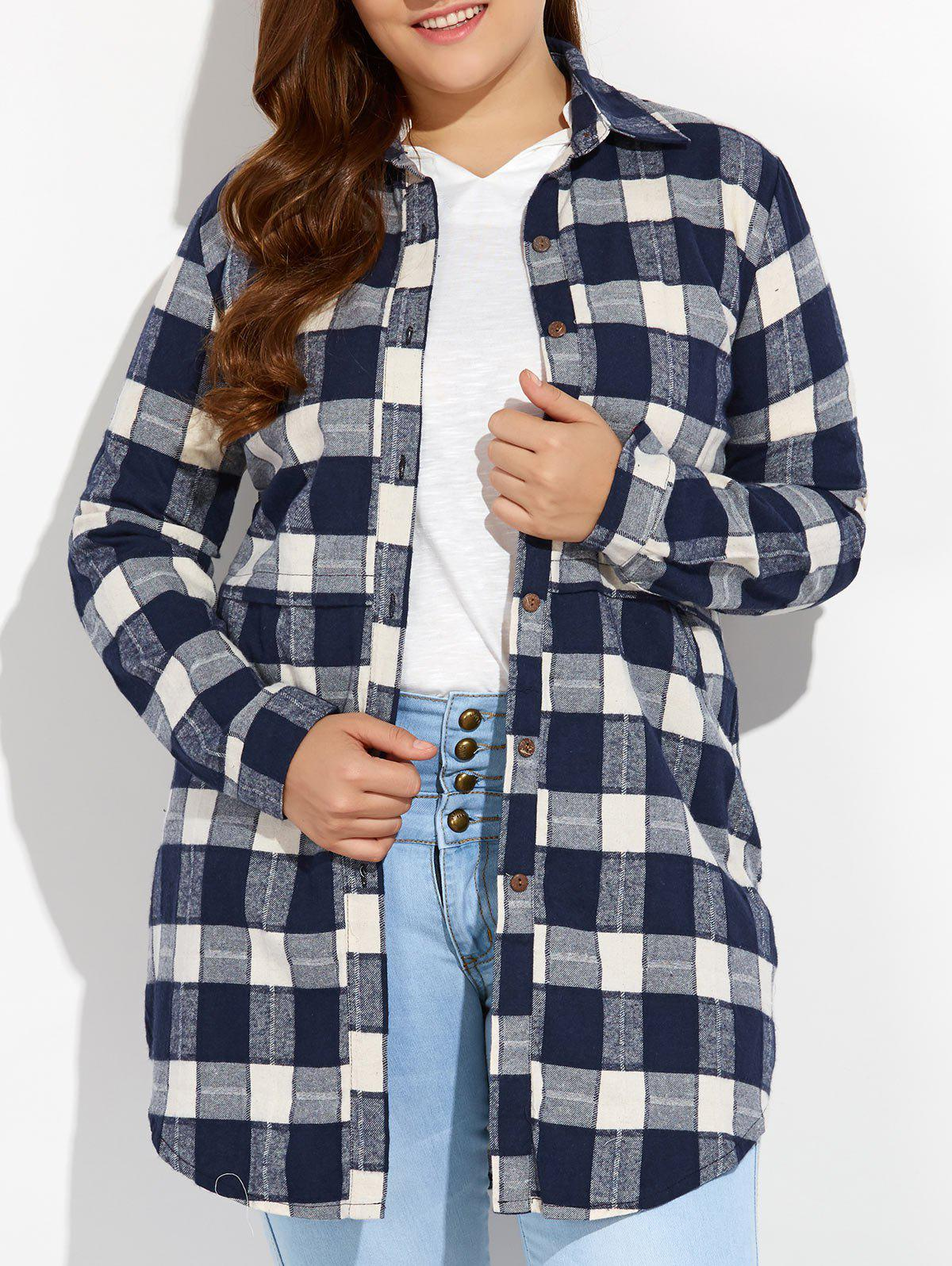 Plus Size Plaid Button Up Long Flannel Shirt button up plaid pocket shirt