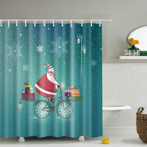 Waterproof Christmas Claus Bath Decor Shower Curtain - BLUE S