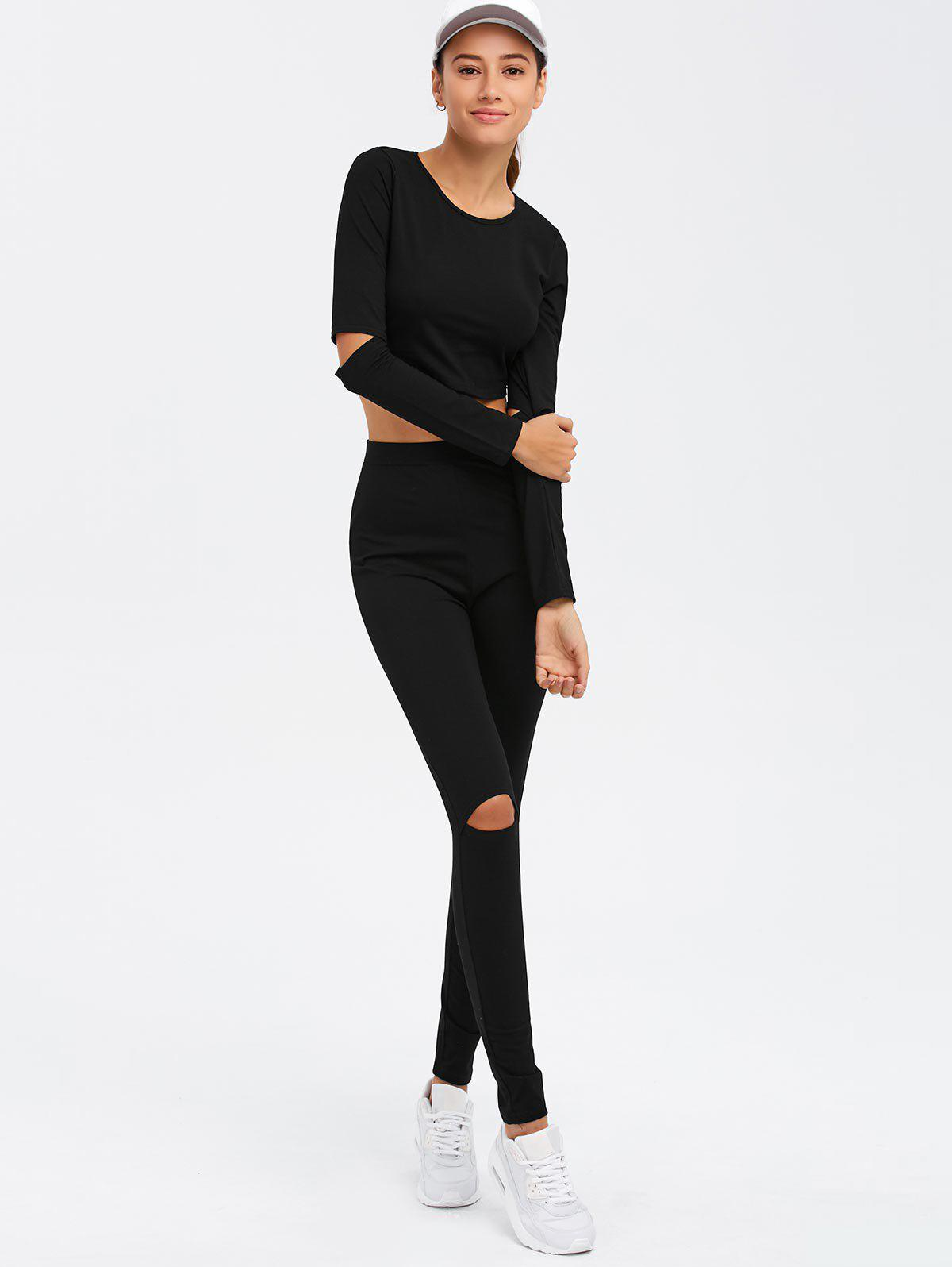 Crop Top and Cut Out Pants Twinset - BLACK XL