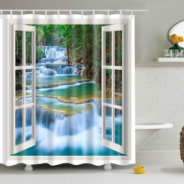 Window Landscape Printed Polyester Waterproof Shower Curtain - COLORMIX L