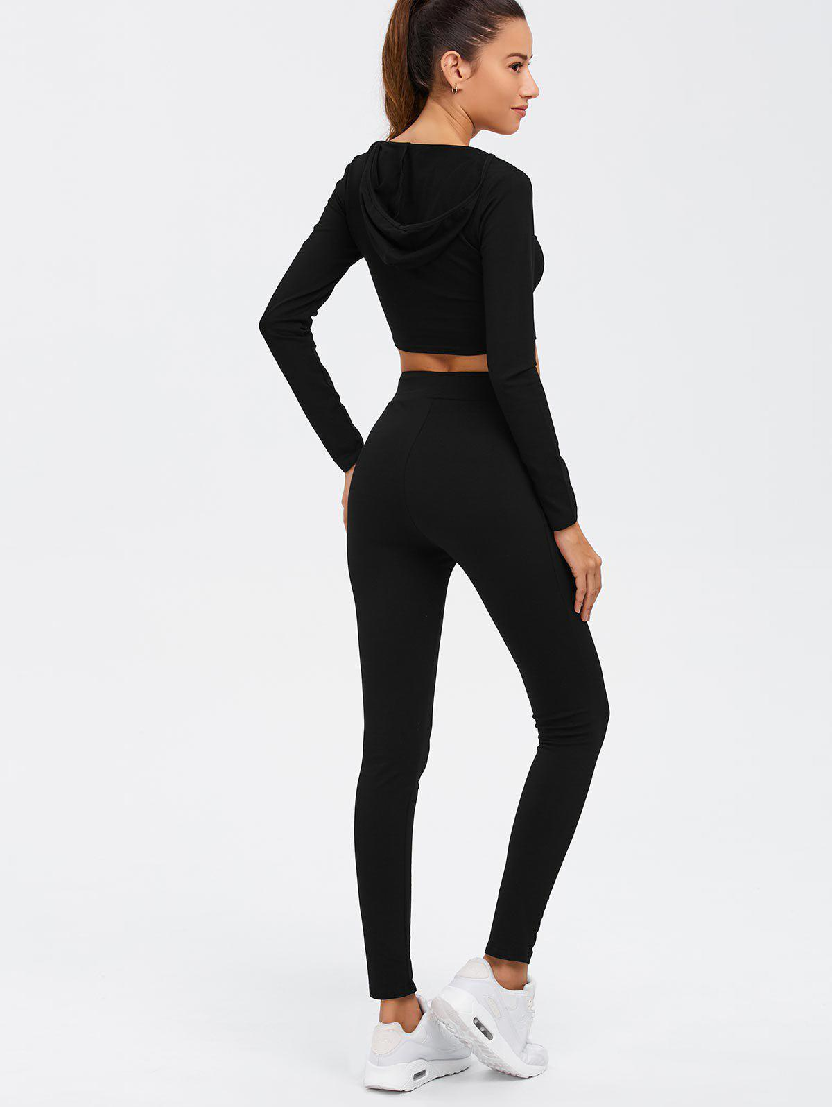 Long Sleeve Crop Top and Drawstring Pants Twinset - BLACK L