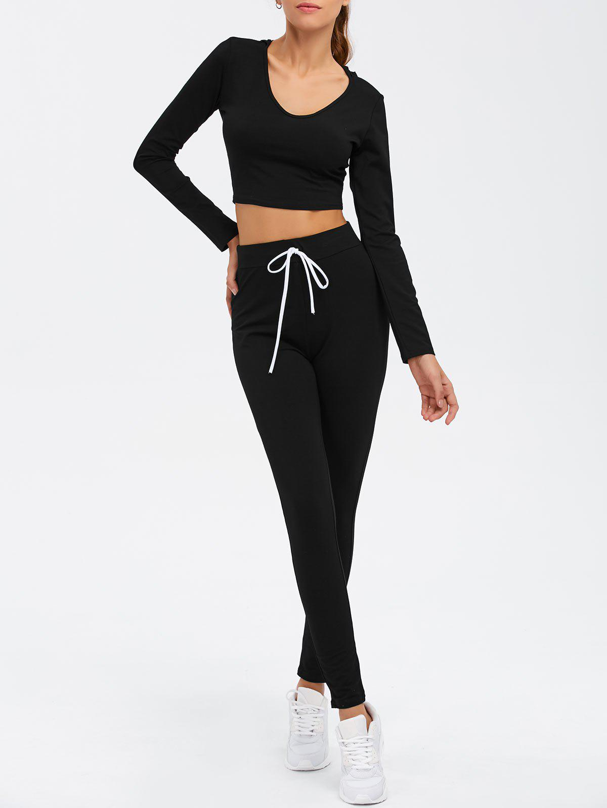 Long Sleeve Crop Top and Drawstring Pants Twinset - BLACK XL