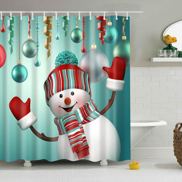 Waterproof Snowman Printed Bath Christmas Shower Curtain waterproof christmas snowman pine pattern shower curtain