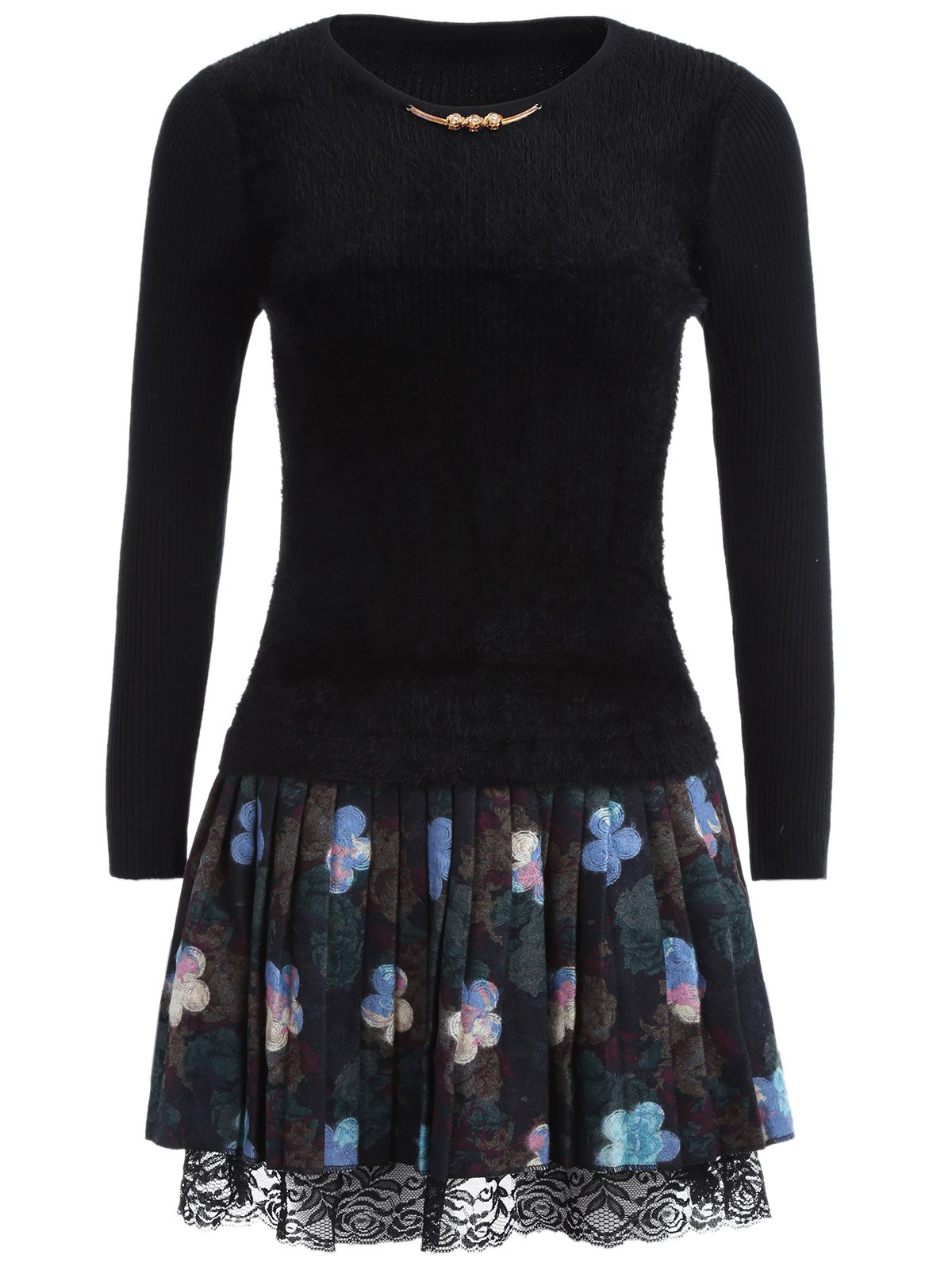 Floral Printed Fuzzy Sweater Dress - BLACK GREY ONE SIZE