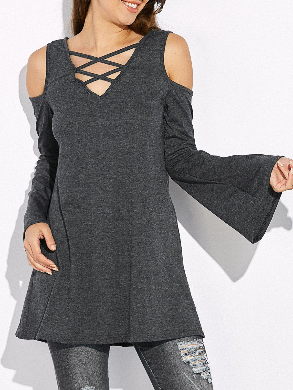 Cold Shoulder Flare Sleeve T-Shirt - GRAY S