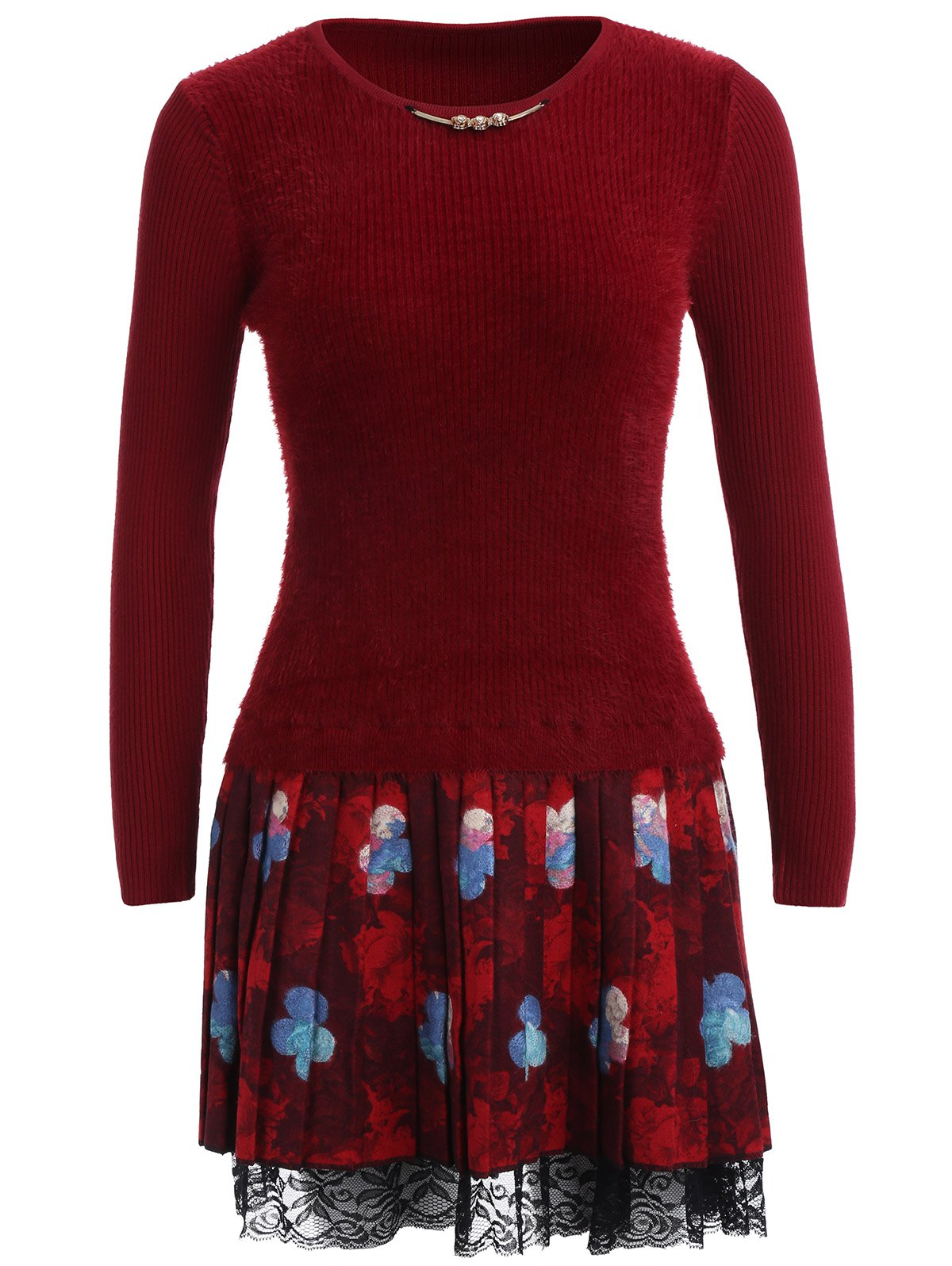 Floral Lace Trim Fuzzy Sweater  Dress - WINE RED ONE SIZE