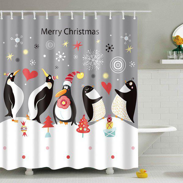 Christmas Penguin Print Fabric Waterproof Bath Shower Curtain - GREY/WHITE S