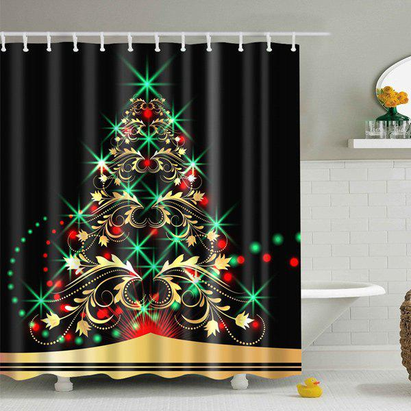christmas xmas tree fabric waterproof bath shower curtain black l in shower curtains. Black Bedroom Furniture Sets. Home Design Ideas