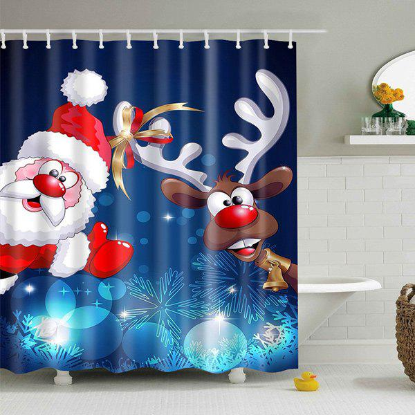 Christmas Santa Elk Print Fabric Waterproof Bath Shower Curtain christmas pine baubles print fabric waterproof shower curtain