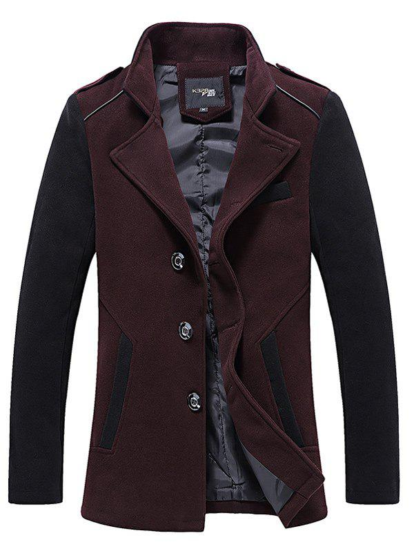 Stand Collar Color Block Panel Wool Mix Jacket