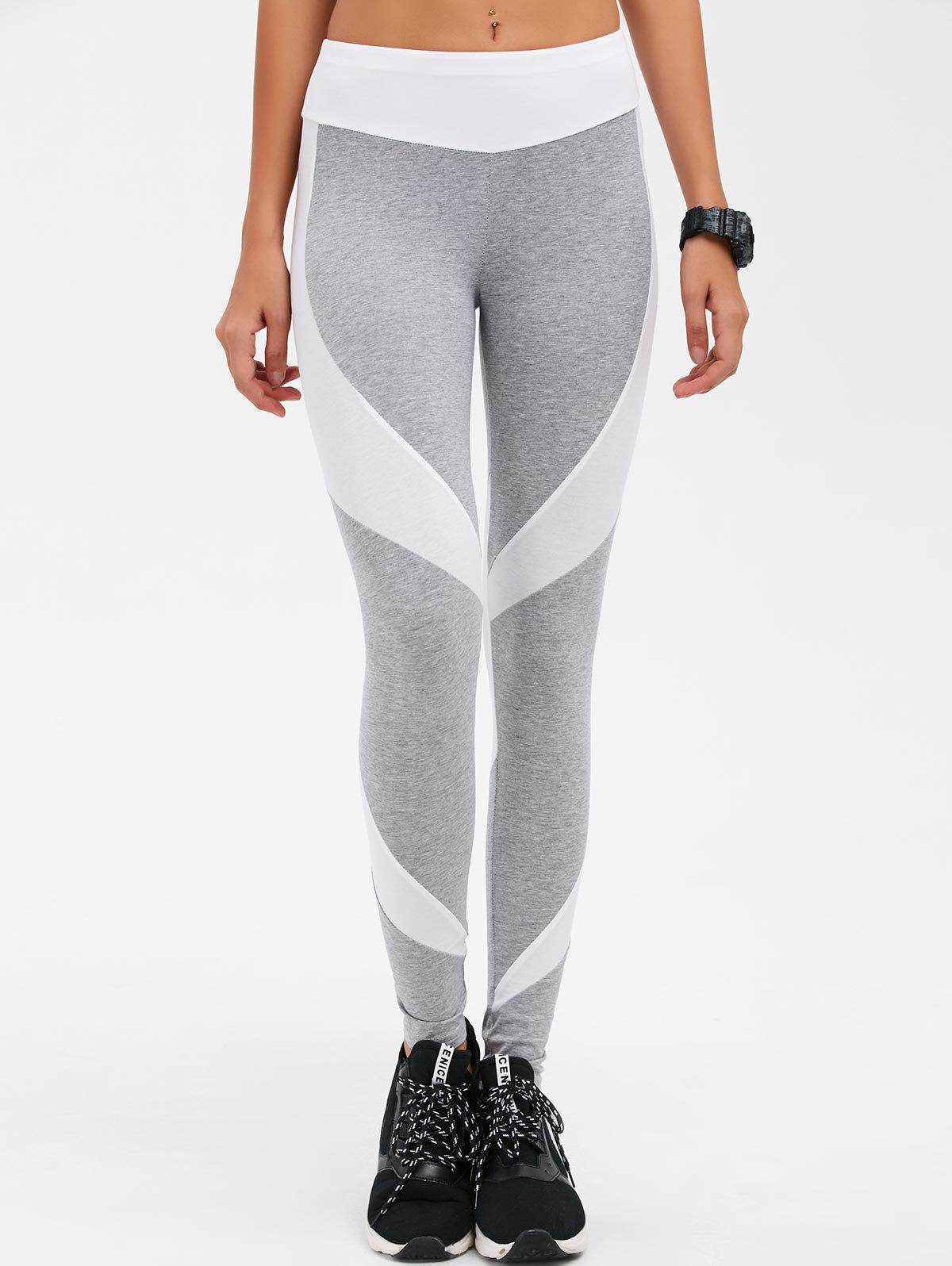 Stretchy Contrast Athletic Pants - LIGHT GRAY M