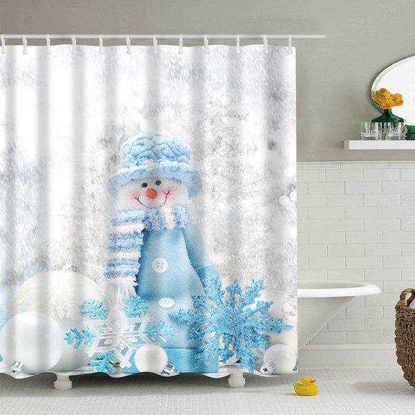 Winter Snowman Print Fabric Waterproof Bath Shower Curtain - GREY WHITE L