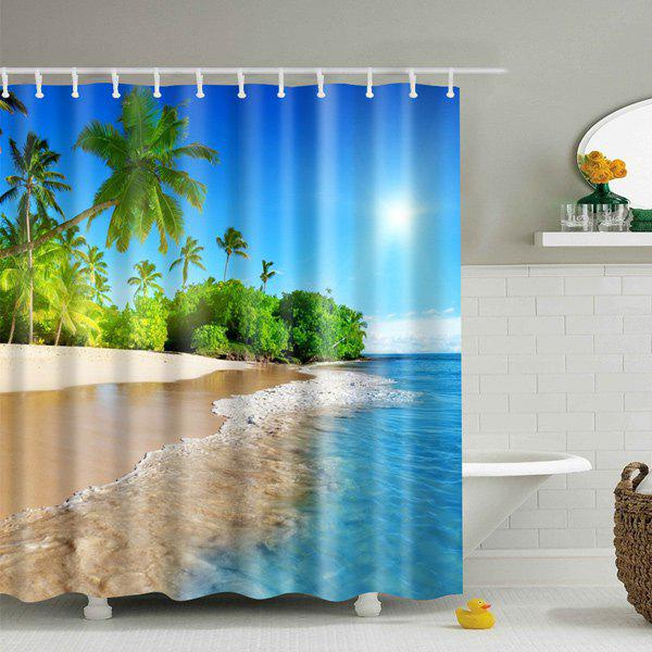 3D Beach Print Fabric Waterproof Bath Shower Curtain - BLUE S