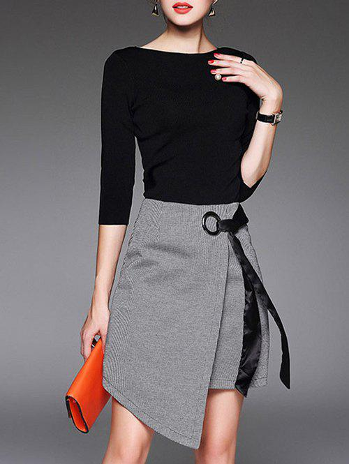 Asymmetrical A Line Skirt And T-Shirt - BLACK M
