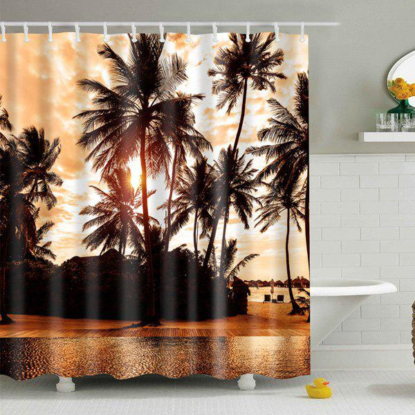 Palm Print Fabric Waterproof Bath Shower Curtain - BROWN M