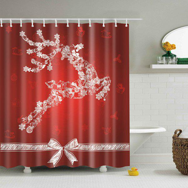 Christmas Product Waterproof Bath Shower Curtain - RED S