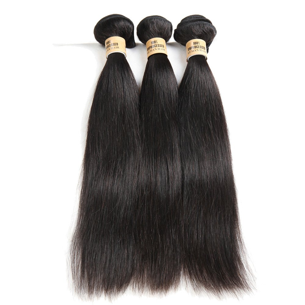 5A Remy 1 Pc/Lot Straight Brazilian Hair Weave - BLACK 16INCH