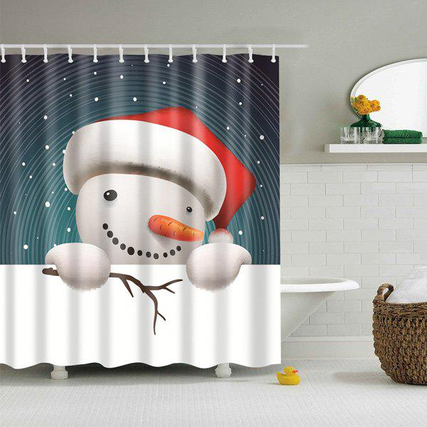 Christmas Snowman Waterproof Fabric Bath Curtain - COLORMIX L