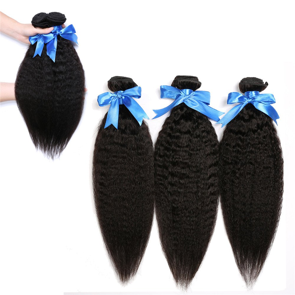 5A Remy 1 Pc/Lot Yaki Straight Brazilian Hair Weave - BLACK 12INCH