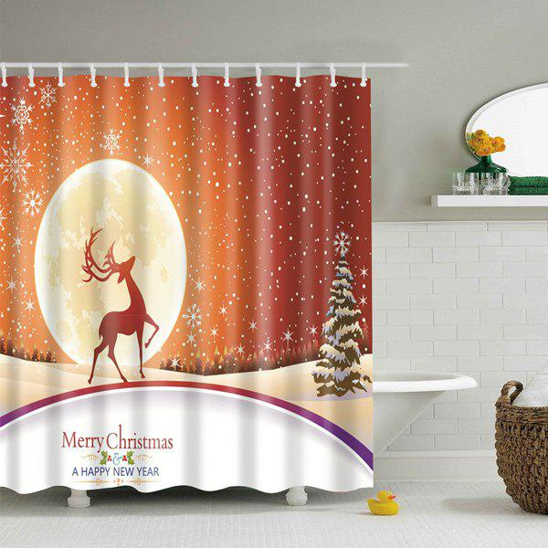 Merry Christmas Waterproof Fabric Bath Curtain - LIGHT BROWN L