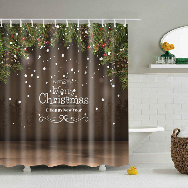 New Year Christmas Waterproof Fabric Bath Curtain - COFFEE M