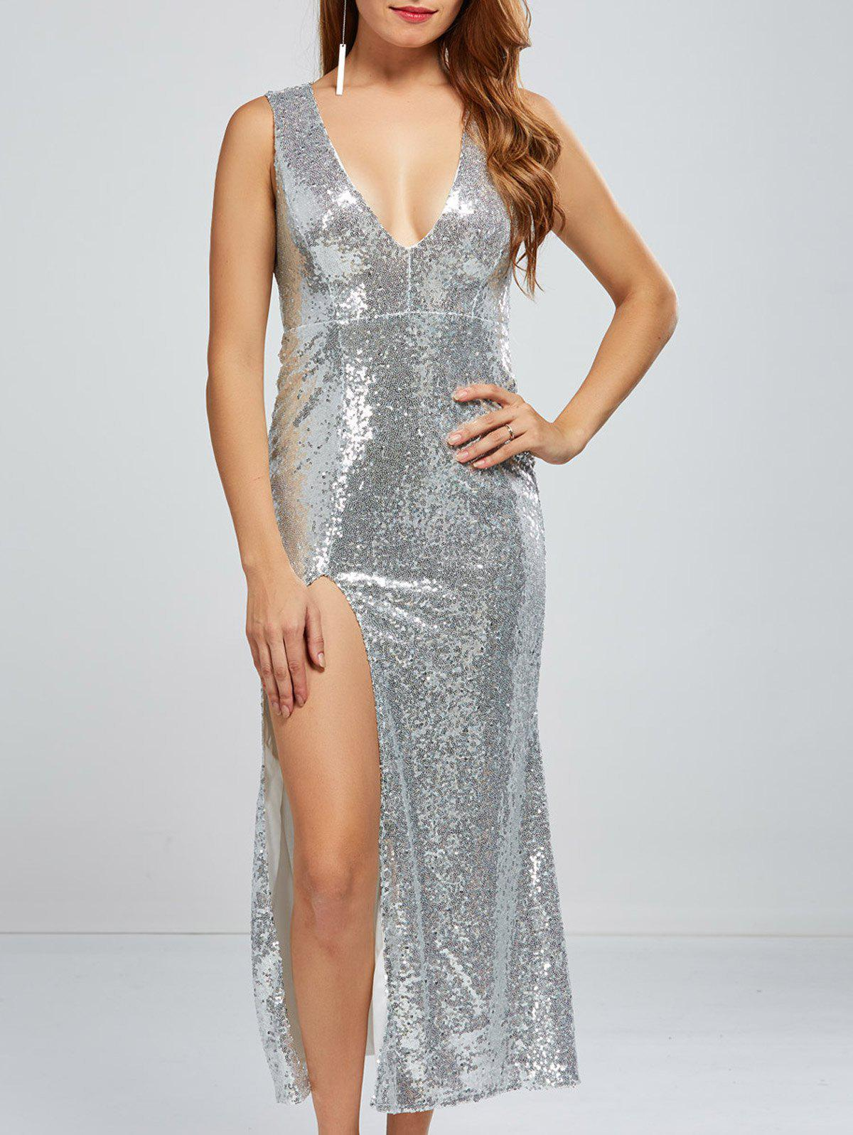 Sequined Low Cut High Slit Dress - SILVER S