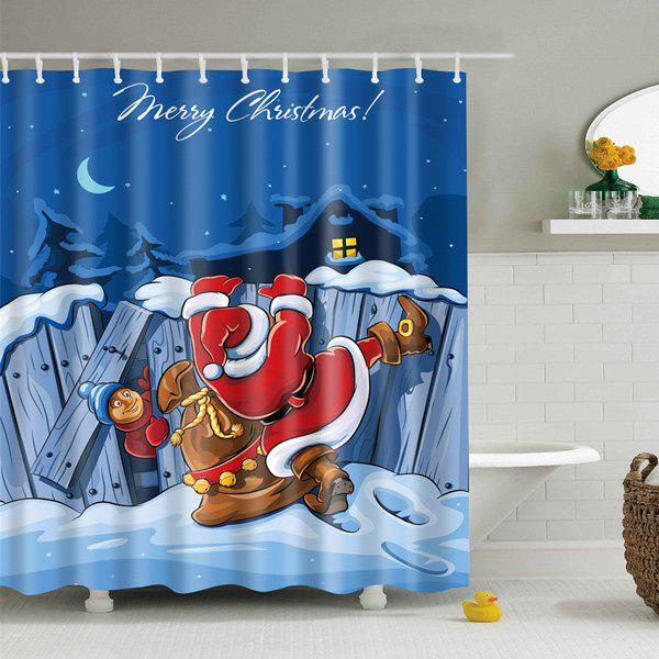 Fabric Merry Christmas Waterproof Bathroom Curtain - BLUE L