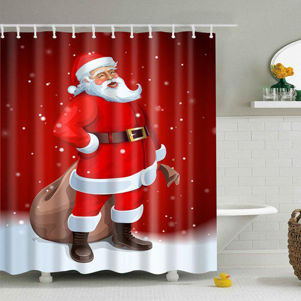 Merry Christmas Santa Claus Waterproof Bathroom Curtain - RED L
