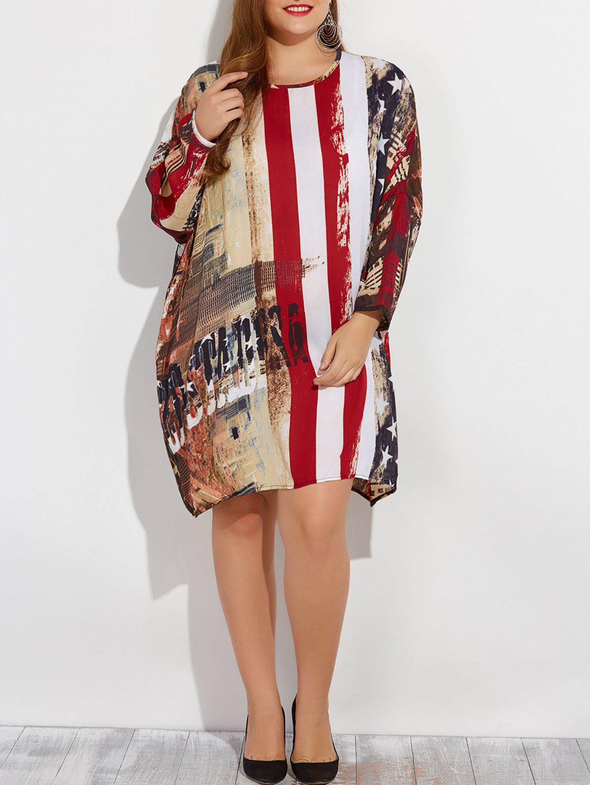 Plus Size Star Print Striped DressWomen<br><br><br>Size: ONE SIZE<br>Color: RED