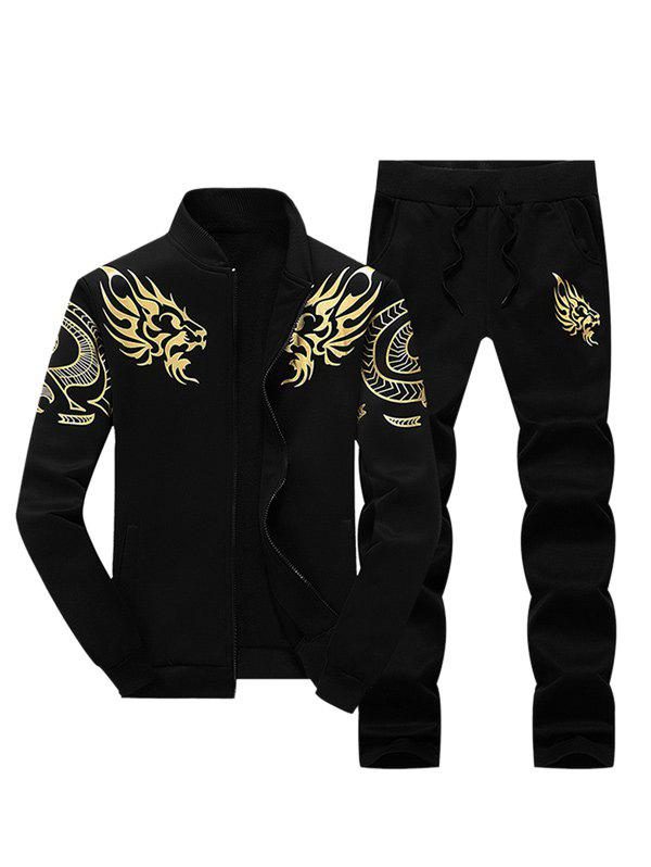 Zip Up Stand Collar Dragon Print Jacket and Pants Twinset - BLACK M