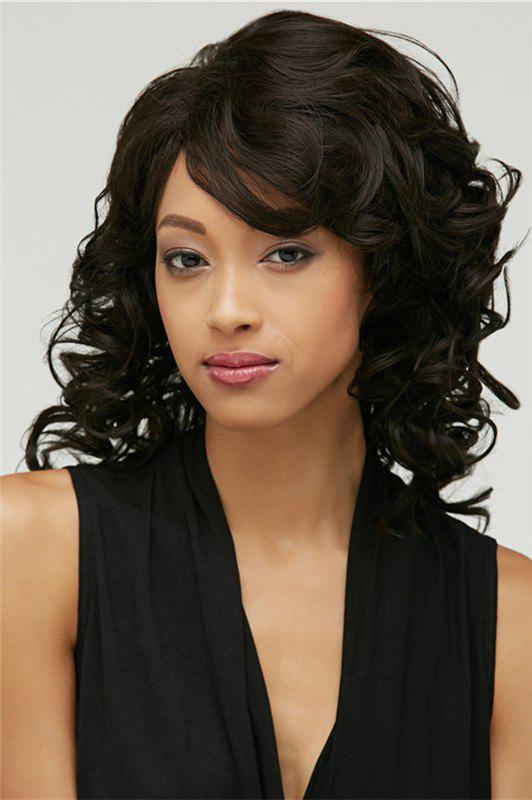 Stunning Medium Side Bang Synthetic Fluffy Black Curly Capless Wig For Women - BLACK
