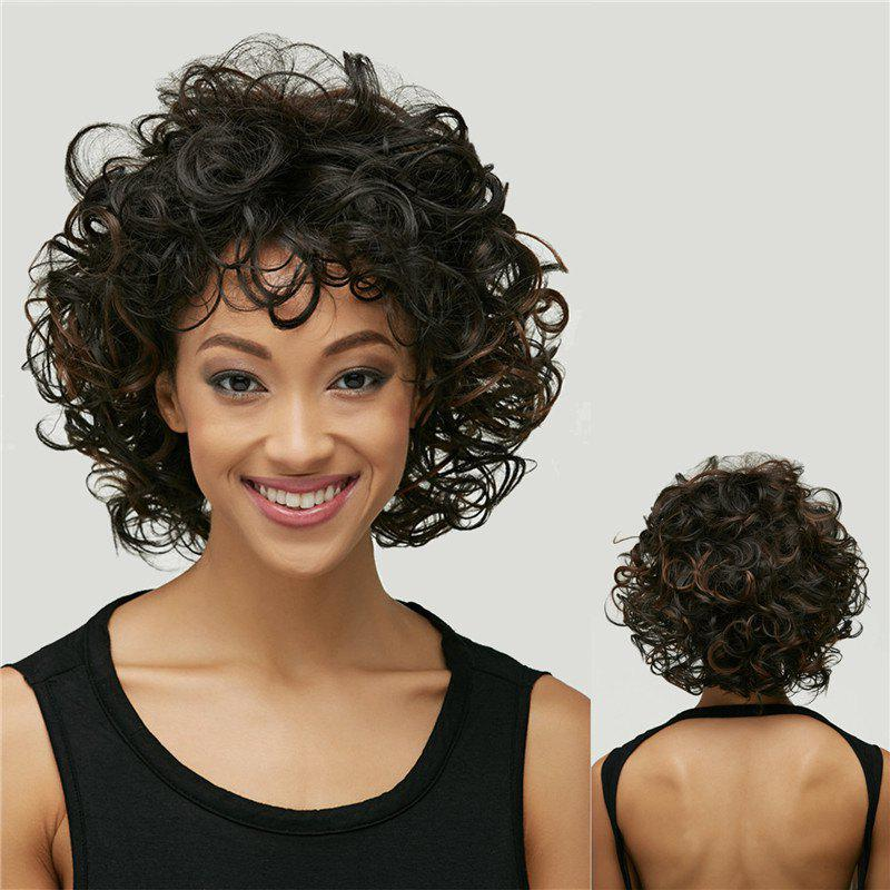 Black Brown Mixed Shaggy Curly Short Synthetic Wig - BLACK/BROWN