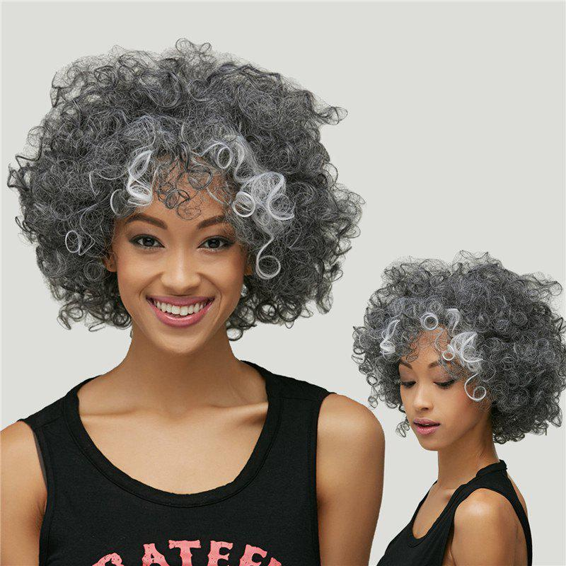 Gracefully Women's Short Afro Curly Grey Silver Synthetic Hair Wig 2016 new silver grey synthetic lace
