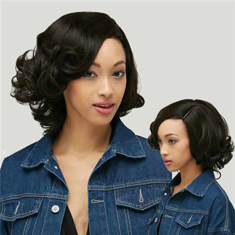 Heat Resistant Synthetic Shaggy Short Curly Capless Side Parting WigHair<br><br><br>Color: BLACK