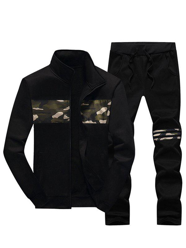 Zip Up Stand Collar Camouflage Insert Jacket and Pants Twinset - BLACK L