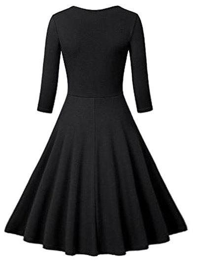 Flounce Fit and Flare Vintage Dress - BLACK XL