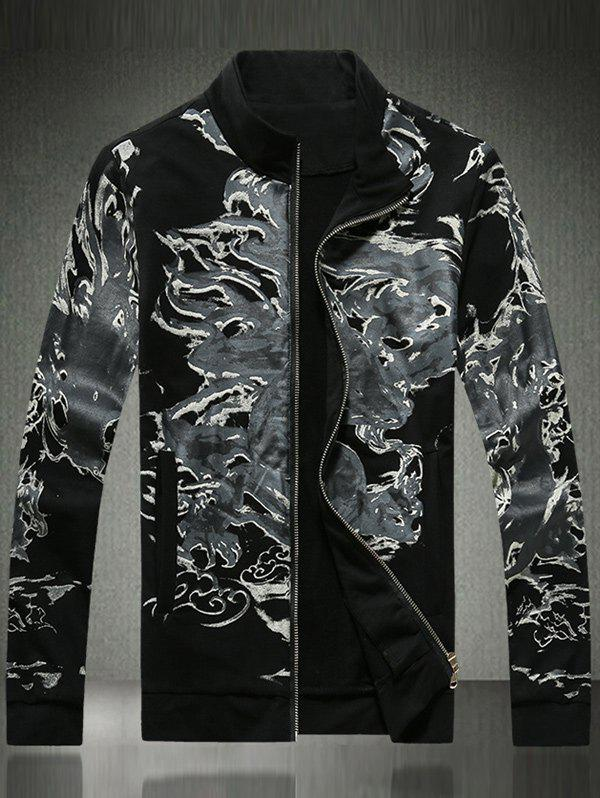 Pocket Ink Painting Print Zip Up Jacket