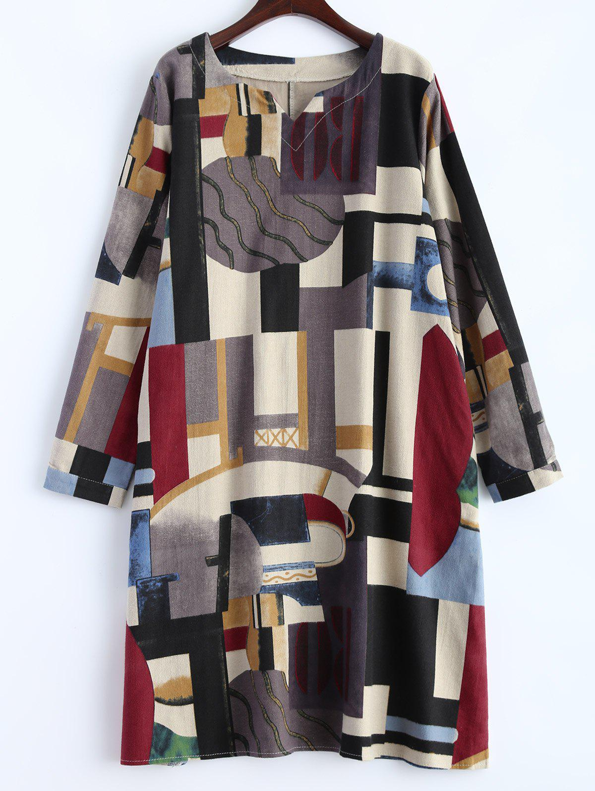 Geometry Patchwork Print Casual Dress - OFF WHITE M