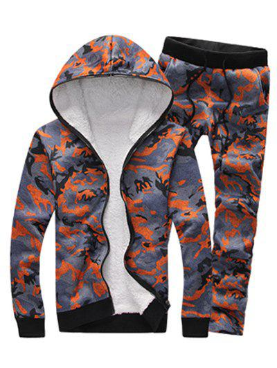 Zip Up Camouflage Flocking Hoodie and Pants Twinset - ORANGE L