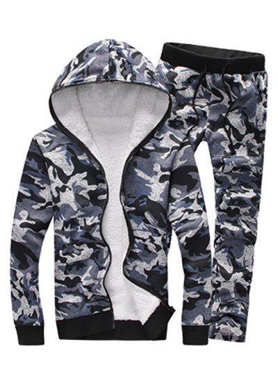 Zip Up Camouflage Flocking Hoodie and Pants Twinset - GRAY XL