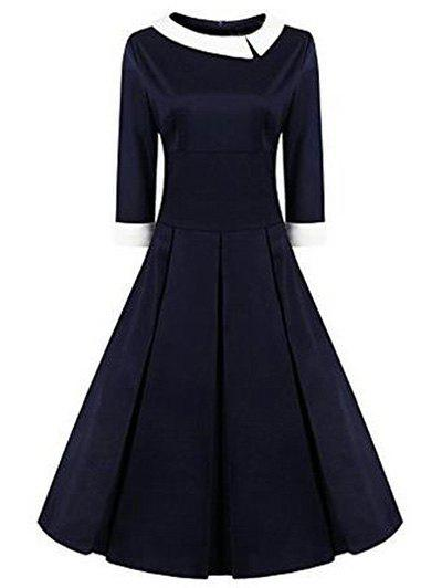 High Waisted Fit and Flare Vintage Dress - PURPLISH BLUE XL