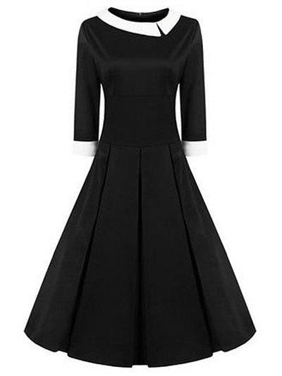 High Waisted Fit and Flare Vintage Dress - BLACK XL