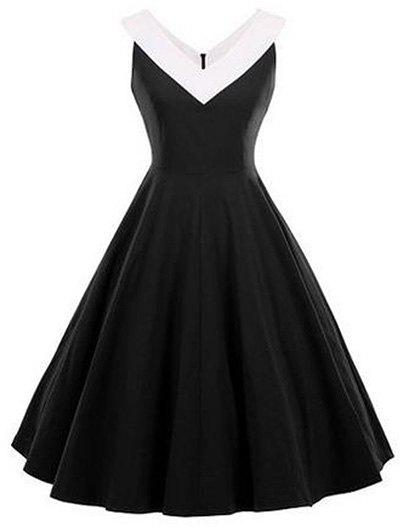 Fit and Flare Vintage Sleeveless Dress - BLACK S