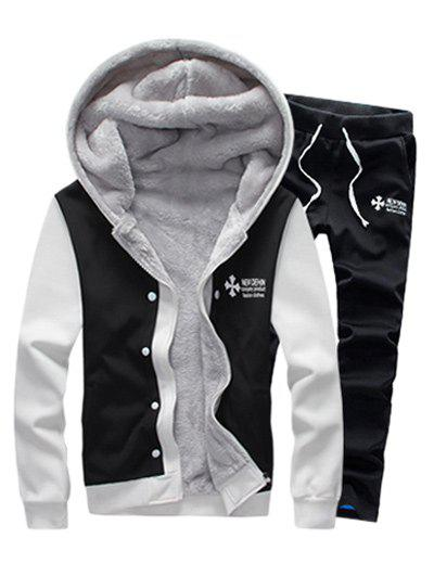 Zip Up Color Block Plus Size Flocking Hoodie and Pants Twinset - BLACK M