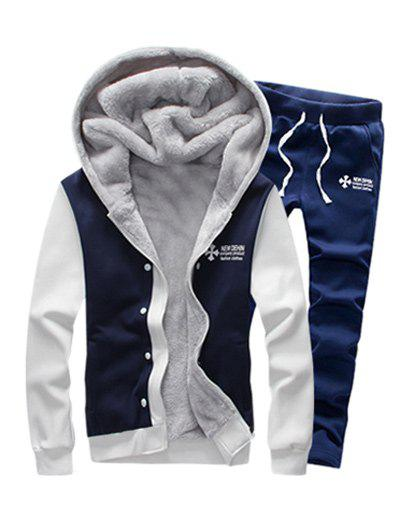 Zip Up Color Block Plus Size Flocking Hoodie and Pants Twinset - PURPLISH BLUE 3XL