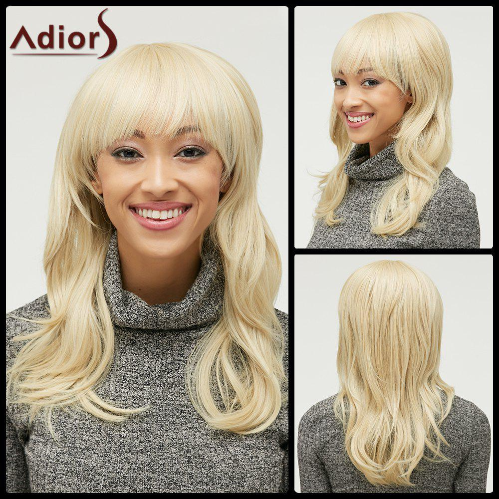 Stylish Fluffy Natural Wave Full Bang Capless Light Blonde Long Heat Resistant Synthetic Womens Wig