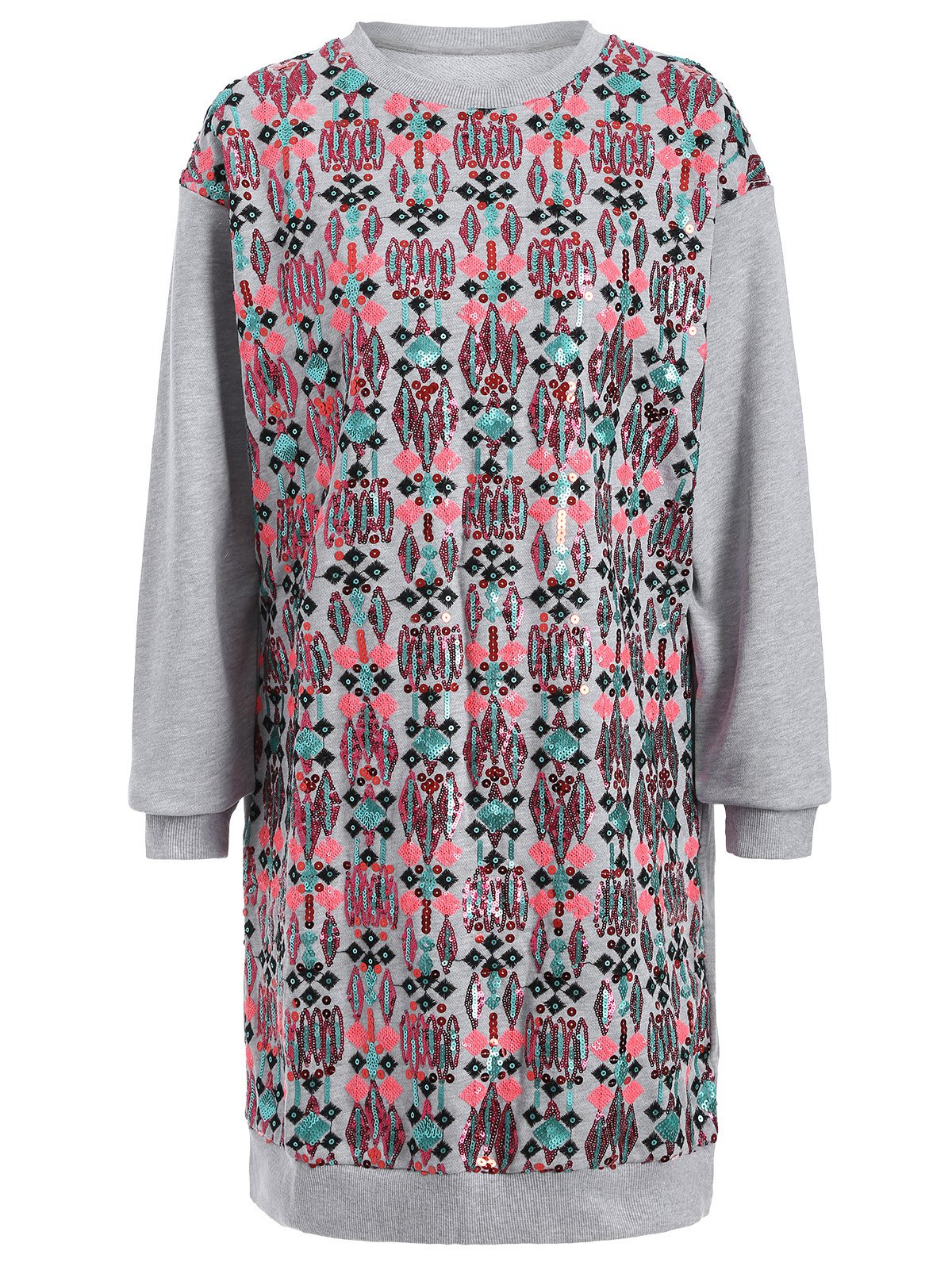 Sequined Embroidered Long Sleeve Dress - GRAY M