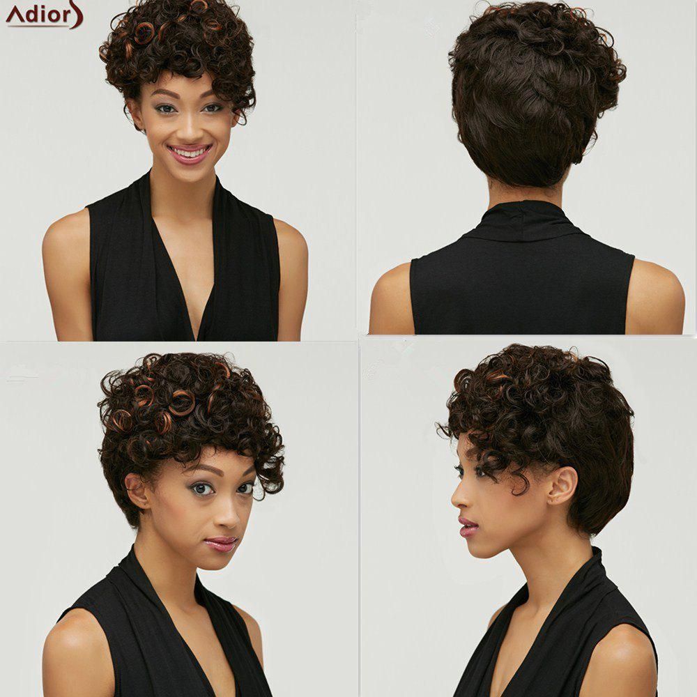 Shaggy Kinky Curly Trendy Short Side Bang Black Brown Mixed Women's Synthetic Wig - COLORMIX