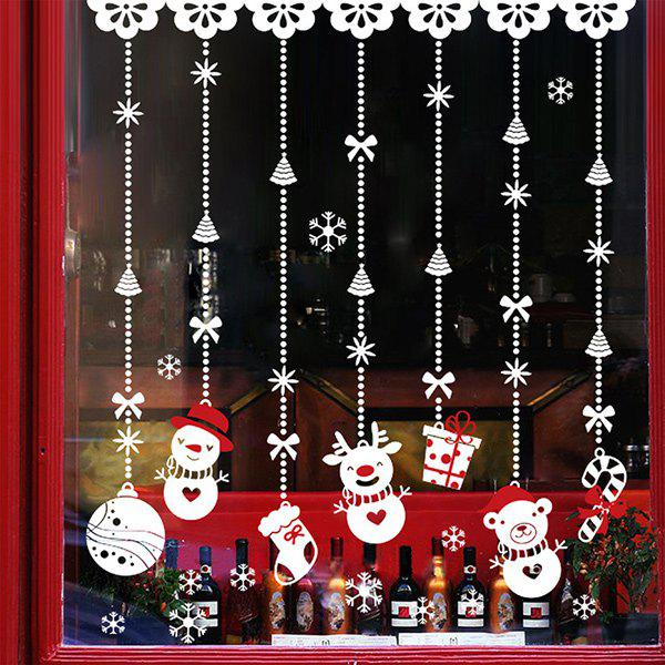 Merry Christmas Snowman DIY Pendants Removable Wall Stickers - WHITE